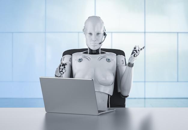 Concept d'employé de bureau d'automatisation avec rendu 3d cyborg féminin ou robot travaillant sur ordinateur portable
