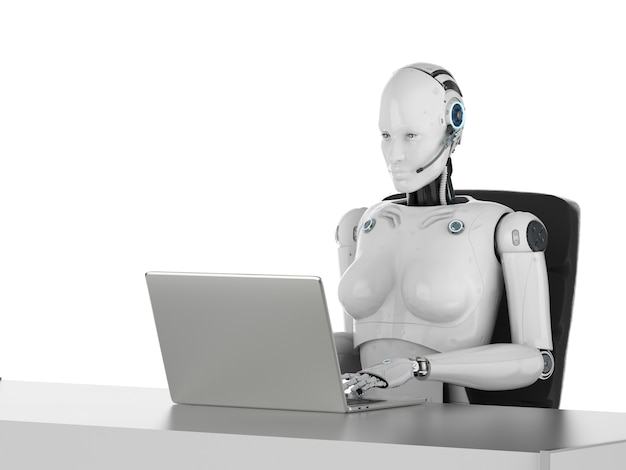 Concept d'employé de bureau d'automatisation avec rendu 3d d'un cyborg féminin ou d'un robot travaillant sur un ordinateur portable