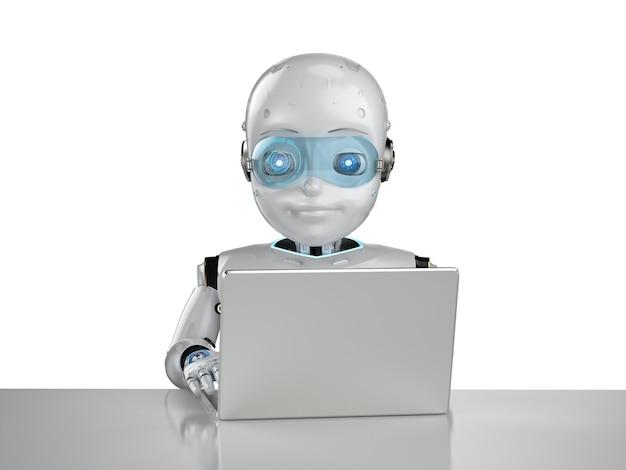 Concept d'employé de bureau d'automatisation avec rendu 3d robot mignon travailler avec ordinateur portable isolé sur fond blanc