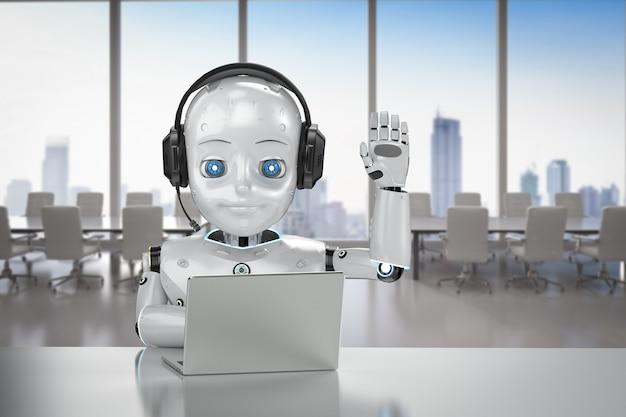 Concept d'employé de bureau d'automatisation avec rendu 3d de voeux de robot mignon