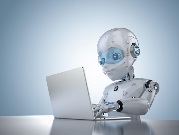 Concept d'employé de bureau d'automatisation avec un robot mignon de rendu 3d avec un ordinateur portable