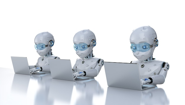 Concept d'employés de bureau d'automatisation avec un groupe de rendu 3d de robots mignons travaillant avec un ordinateur portable isolé sur fond blanc