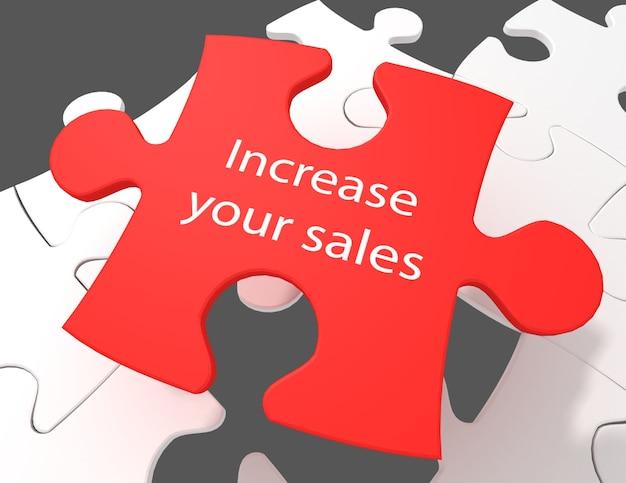 Concept d'entreprise : augmentez vos ventes sur fond de pièces de puzzle blanc, rendu 3d