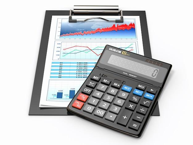 Concept d'entreprise. calculatrice, diagramme, graphiques et tableur.
