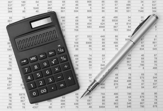Concept d'entreprise avec calculatrice et stylo