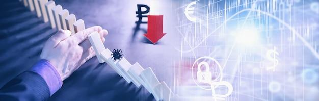 Concept d'entreprise. la dépréciation de la monnaie nationale de la russie. le symbole du rouble. inflation et stagnation. colonnes tombantes abstraites symbolisant l'économie du pays.