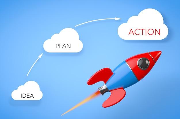 Concept d'entreprise. fusée près des nuages avec des signes d'idée, de plan et d'action sur fond bleu.