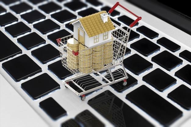 Concept d'entreprise en ligne avec maquette de maison et pile de pièces dans le panier