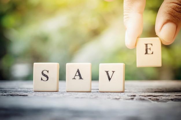 Concept d'entreprise, sauver le mot pour la vie.