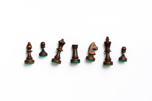 Concept d'entreprise de stratégie et d'échecs en ligne vue de dessus