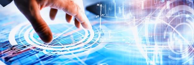 Concept d'entreprise. technologies de l'information et traitement des données. remet l'écran avec les données graphiques. un produit logiciel moderne en entreprise.