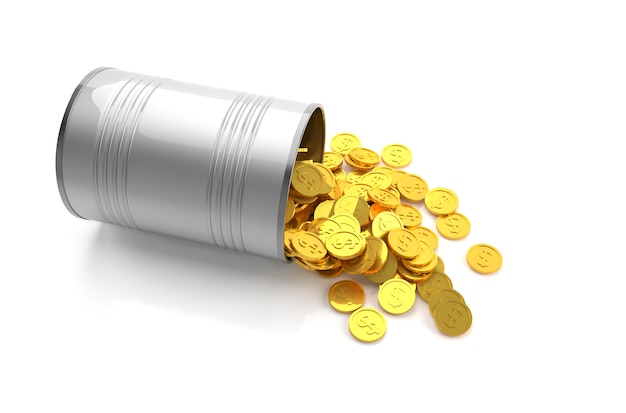 Concept d'épargne de l'argent, pièces d'or dans un bidon métallique sur fond blanc.