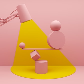 Concept d'équilibre de géométrie abstraite de vitrine moderne avec un espace vide sur fond de piédestal d rendu