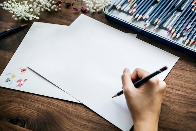 Concept d'espace de travail illustrationist avec espace de copie