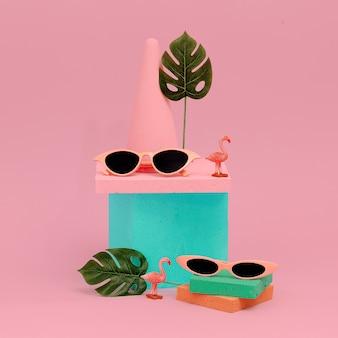 Concept d'été de plage de lunettes d'art plat de mode minimal