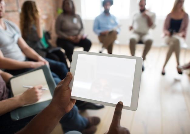 Concept d'événement de séminaire sur les réseaux de tablettes