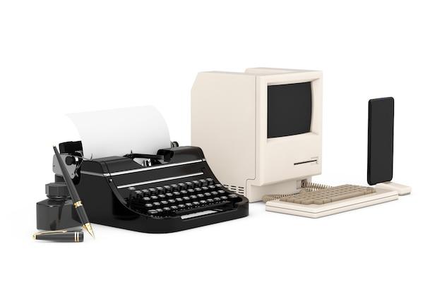 Concept d'évolution technologique. progrès de l'ancien stylo plume avec bouteille d'encre, en passant par la machine à écrire rétro et l'ordinateur personnel au téléphone portable sur fond blanc. rendu 3d