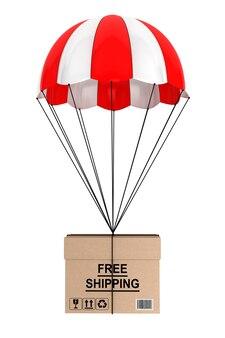 Concept d'expédition gratuit. parachute avec fort sur fond blanc
