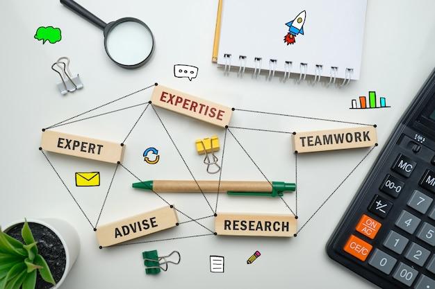 Concept d'expertise - blocs de bois avec inscriptions coaching, apprentissage, compétence, enseignement.