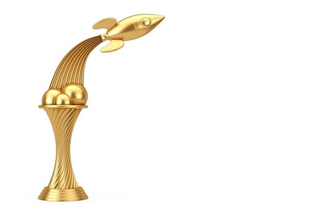 Concept d'exploration spatiale. trophée d'or fly up rocket sur un fond blanc. rendu 3d