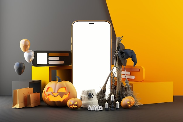 Concept de fantôme, tête de citrouille, bougie, balai et chapeau de sorcière autour d'un smartphone avec écran blanc sur fond noir et orange, illustration de rendu 3d en ligne pour halloween