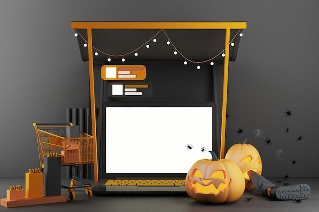 Concept de fantôme, tête de citrouille et panier autour d'un smartphone avec écran blanc sur fond noir et orange, illustration de rendu 3d en ligne pour halloween