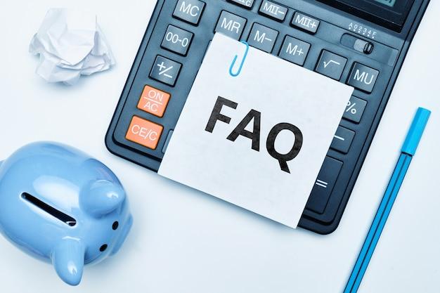 Concept faq sur les principaux problèmes liés à l'économie d'argent.