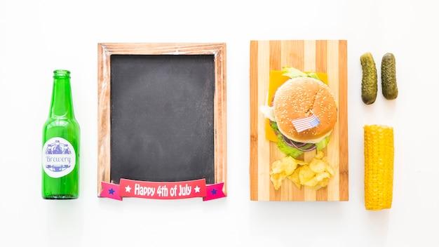 Concept de fast-food américain vue de dessus