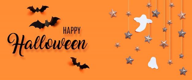 Concept de fête halloween heureux avec des chauves-souris, fantôme, étoiles