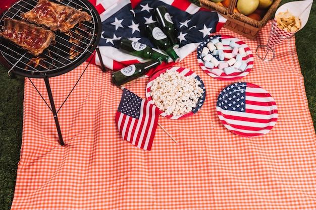Concept de fête de l'indépendance des états-unis avec barbecue