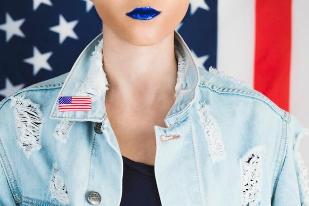 Concept de fête de l'indépendance usa avec femme punk
