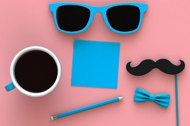 Concept de fête des pères heureux avec café, moustache et lunettes