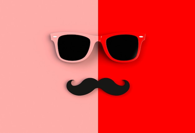 Concept de fête des pères. lunettes de soleil hipster et moustache drôle sur fond rouge, rendu 3d