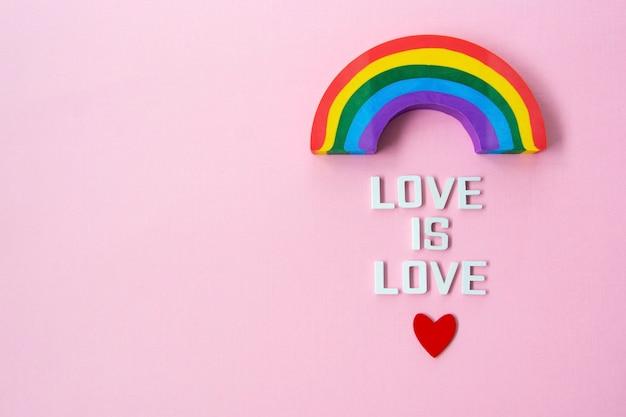 Concept de fierté lgbt. l'amour est amour, arc-en-ciel.