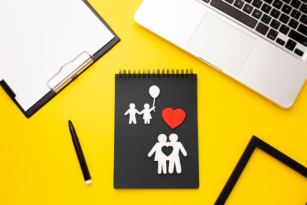 Concept de figure de famille vue de dessus