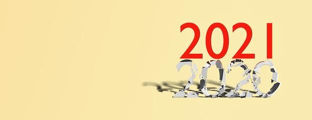 Concept fin 2020 début 2021 sur fond bleu, bannière, espace copie