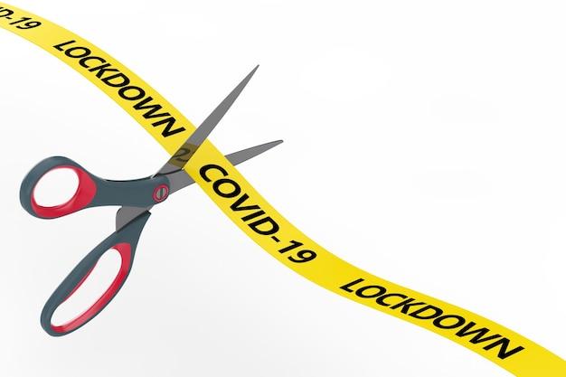 Le concept de fin de confinement. les ciseaux coupent le ruban jaune avec le signe de verrouillage covid-19 sur fond blanc. rendu 3d