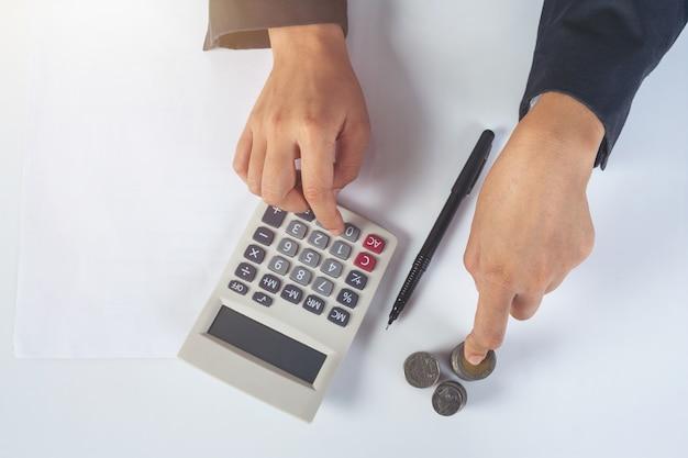 Concept financier et comptable. femme affaires, travailler bureau