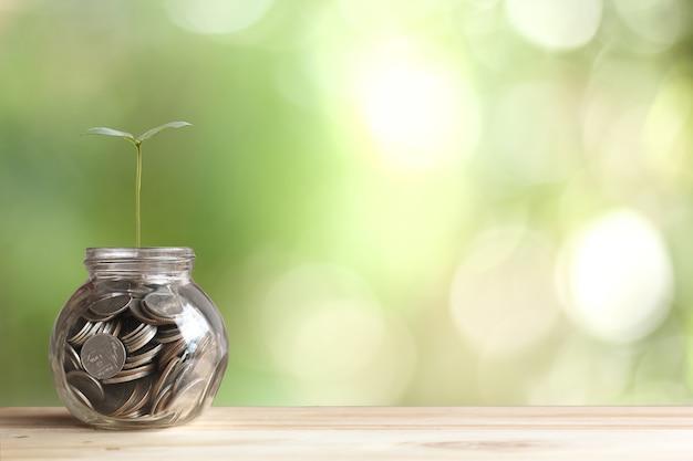 Concept financier et financier, homme d'affaires mettant des pièces d'argent
