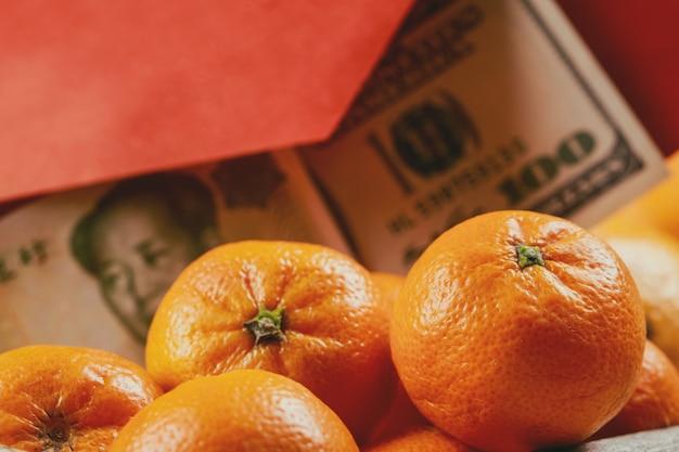 Concept de fond des oranges mandarines festives du nouvel an chinois