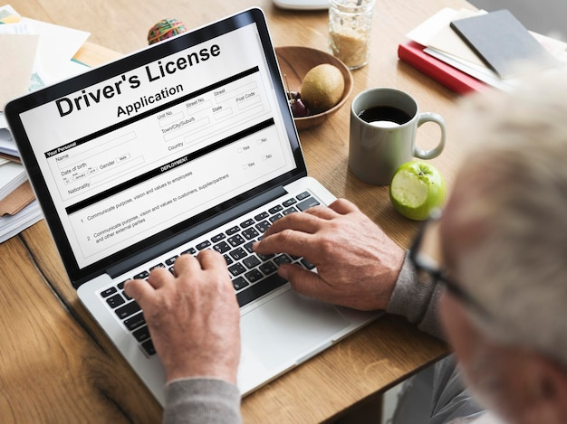 Concept de formulaire d'autorisation de demande de permis de conduire