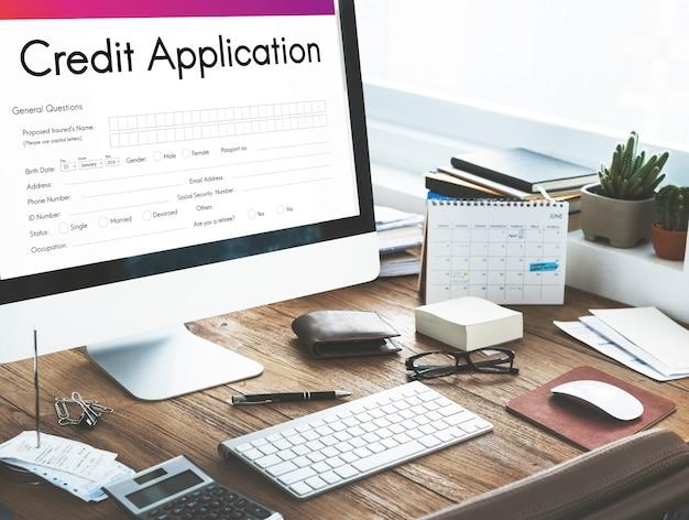 Concept de formulaire de demande de carte de crédit