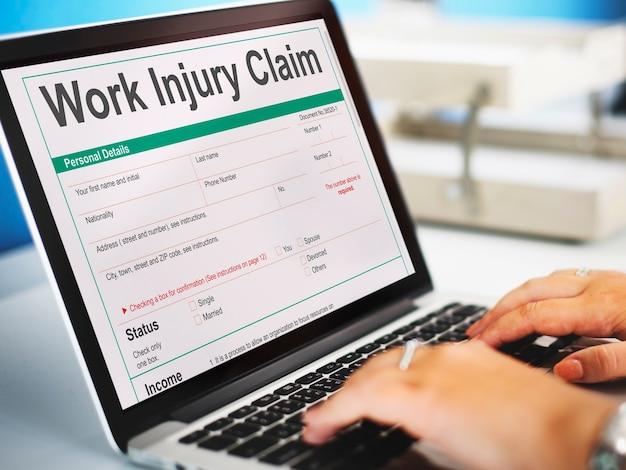 Concept de formulaire de demande d'indemnisation des accidents du travail