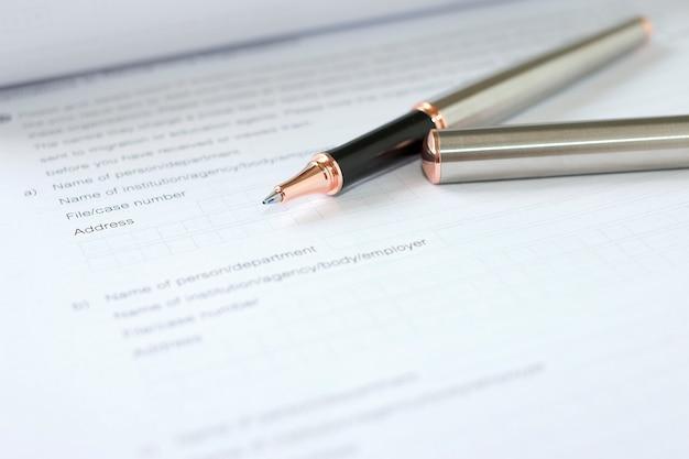Concept de formulaire de demande pour postuler à un emploi, à une finance, à un prêt, à une hypothèque ou à un formulaire de demande
