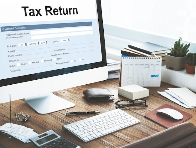 Concept de formulaire financier de déclaration d'impôt