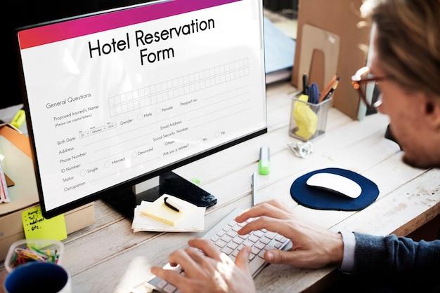 Concept de formulaire de réservation de réservation d'hôtel