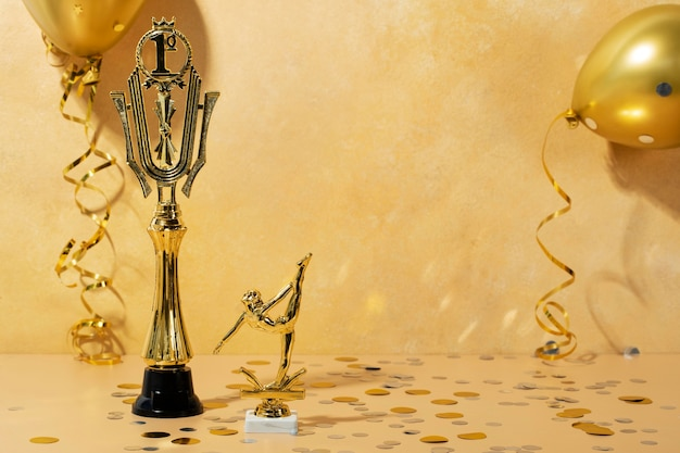 Concept gagnant avec ballerine dorée