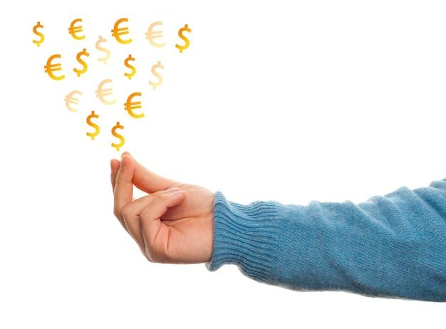 Concept de gagner de l'argent avec la main sur fond blanc
