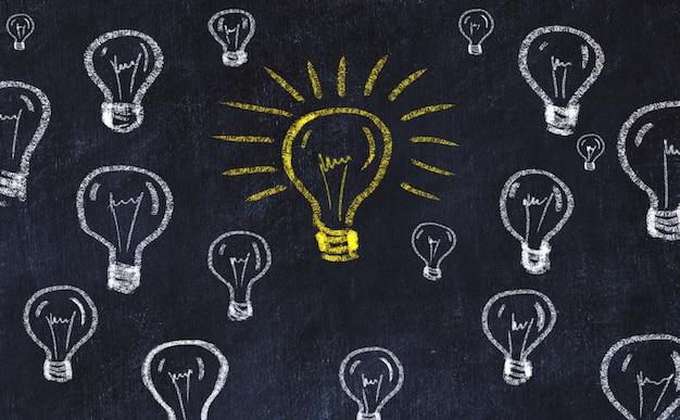 Concept de générer des idées. dessin à la craie des ampoules