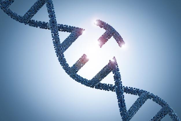 Concept de génie génétique avec hélice d'adn de rendu 3d et une partie d'adn